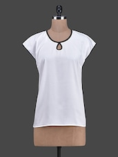 Round Neck Black Piping Crepe Top - RUTE