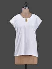 Round Neck Printed Piping Crepe Top - RUTE