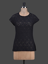 Round Neck Solid Black Lace Top - RUTE