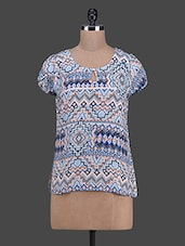 Printed Round Neck Rayon Top - RUTE