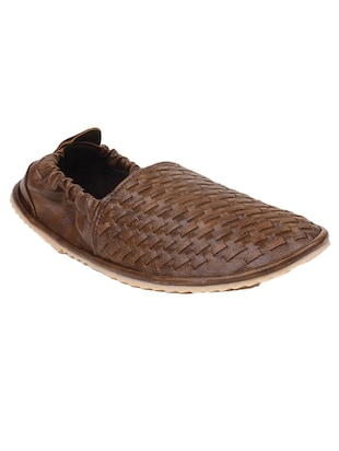 Brown leatherette slip on juti -  online shopping for Jutis