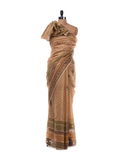 Tan Brown And Gold Saree - Bunkar
