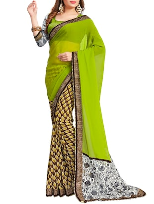 green and biege printed georgette half and half saree