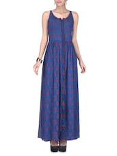 Sleeveless Blue Printed Maxi Dress - LABEL Ritu Kumar