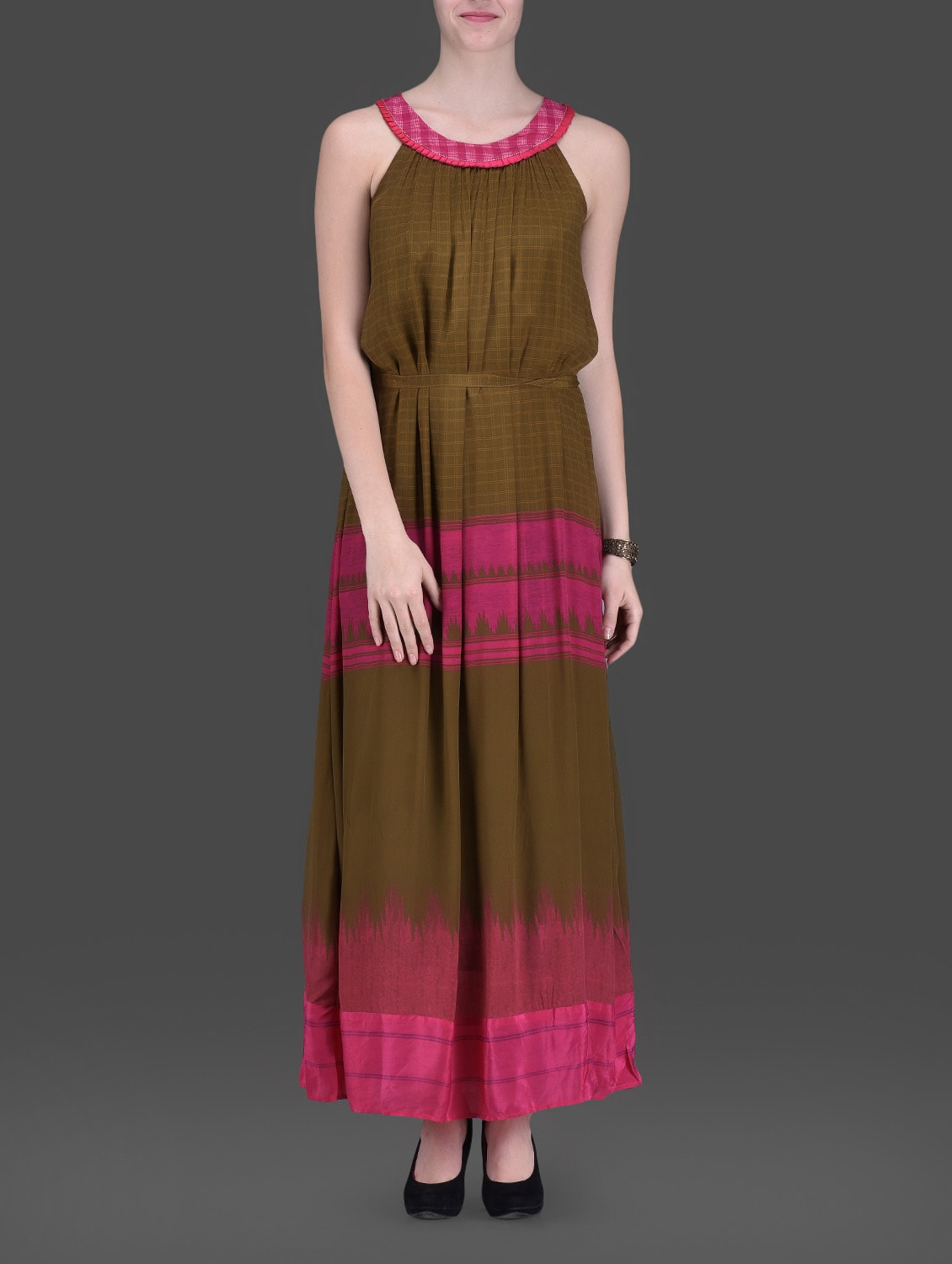 Olive Green Geometric Printed Maxi Dress - LABEL Ritu Kumar