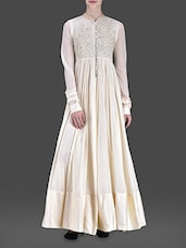 Off White Flared Cotton Gown - LABEL Ritu Kumar