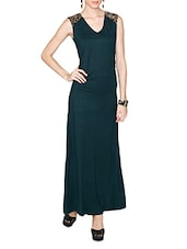 Teal Viscose Lycra Maxi Dress - LABEL Ritu Kumar