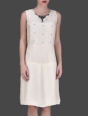 Off White Embellished Sleeveless Dress - LABEL Ritu Kumar