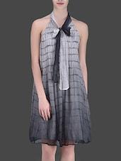 Grey Printed Halter-Neck Dress - LABEL Ritu Kumar