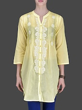 Lemon Yellow Embroidered Quarter-Sleeved Tunic - LABEL Ritu Kumar