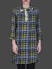 Grey Embellished Printed Viscose Shirt - LABEL Ritu Kumar
