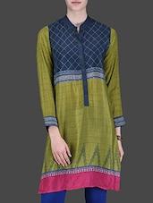Mehendi Green Printed Full-sleeved Shirt - LABEL Ritu Kumar