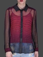 Black And Maroon Printed Full-sleeved Shirt - LABEL Ritu Kumar