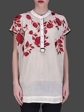 Off-white Embroidered Short-sleeved Shirt - LABEL Ritu Kumar
