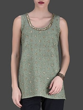 Olive Green Embellished Sleeveless Top - LABEL Ritu Kumar
