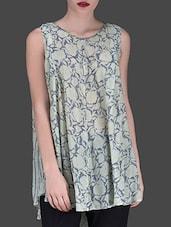 Muted Green Printed Flared Sleeveless Top - LABEL Ritu Kumar