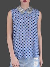 Blue Floral Print Sleeveless Top - LABEL Ritu Kumar
