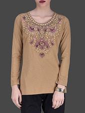 Beige Embroidered Full-sleeved Top - LABEL Ritu Kumar