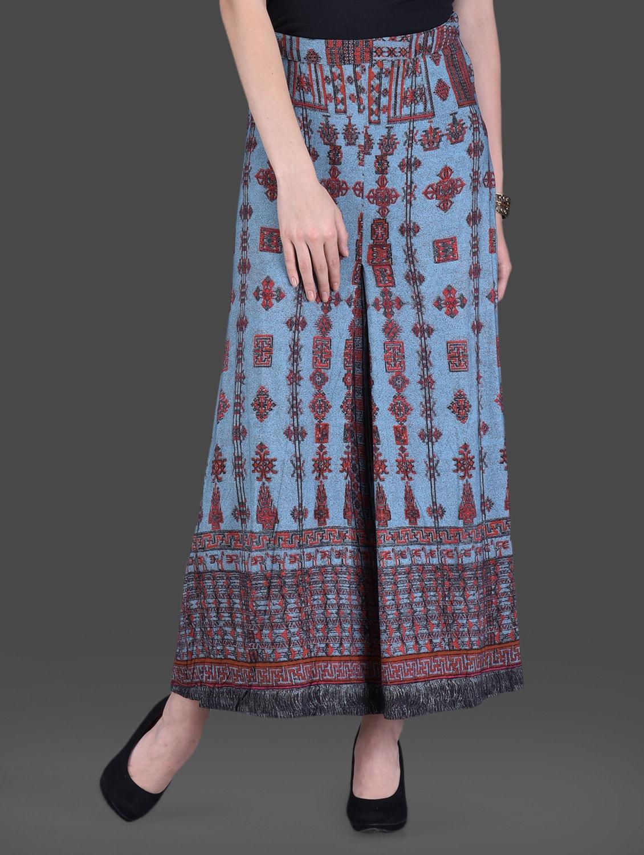 Printed Blue Maxi Skirt - LABEL Ritu Kumar