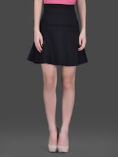Black Flared Short Skirt - LABEL Ritu Kumar