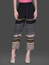 Black Printed Viscose Crepe Bukul Pants - LABEL Ritu Kumar
