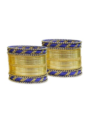blue color, metallic alloy bangles