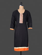 Embroidered Patch Quarter Sleeves Black Kurta - By