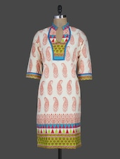 Quarter Sleeve Paisley Block Printed Cotton Kurta - Kyaara