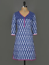 Block Printed Quarter Sleeves Cotton Kurta - Kyaara