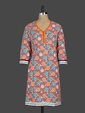 Floral Print Quarter Sleeves Cotton Kurta - Kyaara