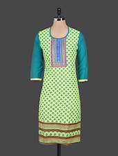 Round Neck Embroidered Printed Kurta - Kyaara