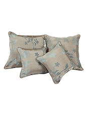 Brown Dupion Set Of 5 Cushion Cover - By