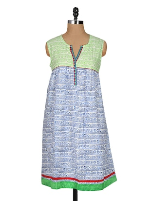block printed sleeveless cotton kurta