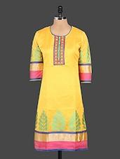Round Neck Quarter Sleeves Chanderi Silk Kurta - Kyaara