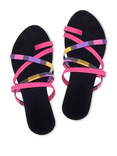 Pink Cross Strap Flat Sandals - BPRONTO