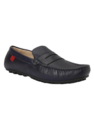 solid navy blue leather loafer -  online shopping for Loafers
