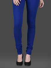 Blue Cotton Lycra Leggings - Invogue