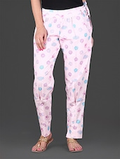Pink Printed Cotton Lycra Ankle Length Stretchable Pant - Lamora Get High In Fashion