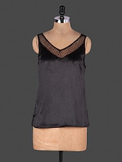 Black Sleeveless V Neck Top - Lamora Get High In Fashion