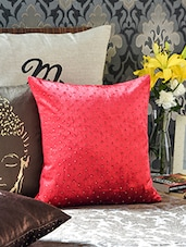 Beads Embellished Solid Red Color Cushion Cover - Malang