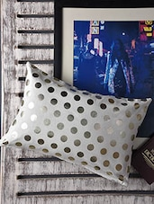 White Polka-dots Printed Cotton Cushion Cover - Malang