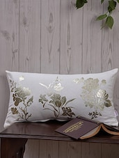 White Floral Printed Cotton Cushion Cover - Malang