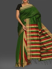 Green Stripped Handwoven Cotton Saree - Komal Sarees