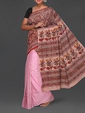 Floral Print Half & Half Kalamkari Saree - Komal Sarees