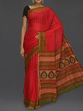 Printed Pallu Self Striped Red Saree - Komal Sarees
