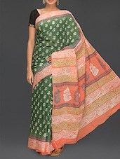 Green Printed Body Coral Pallu Saree - Komal Sarees