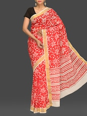 Red Floral Print Handloom Cotton Saree - Komal Sarees