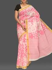 Pink Floral Print Handloom Cotton Saree - Komal Sarees