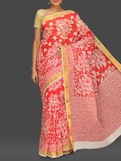 Red Floral Print Handloom Cotton Saree - Komal Sarees