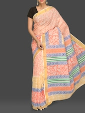 White And Orange Printed Handloom Cotton Saree - Komal Sarees